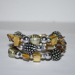 Beautiful shell and silver coil bracelet